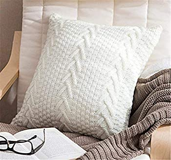 Awishwill Cotton Knitted Pillow Case Decorative Cushion Cover Cable Knitting Patterns Square Warm Throw Pillow Covers  White 18  x 18