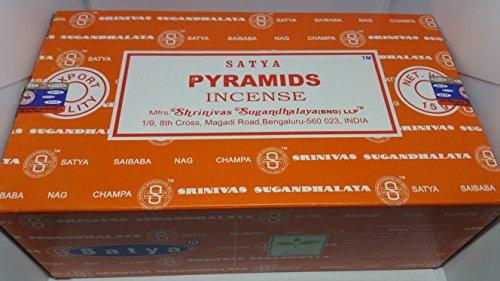 3 X Packs de pyramides d'encens Satya Nag Champa 15 g avec badge de souvenir par Sterling Effectz