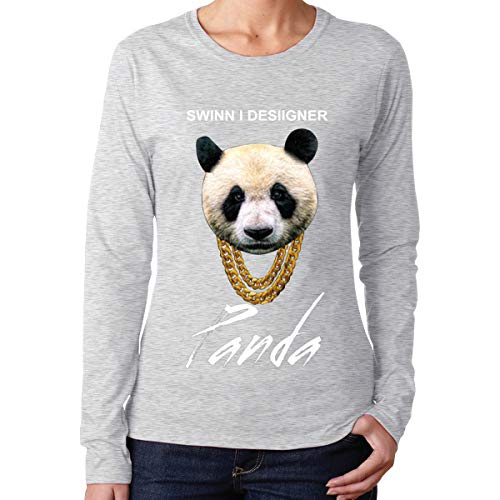 Stdone Desiigner Panda Sweatshirts Round Collar for Womens Gray