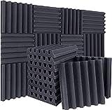 DEKIRU 12 Pack Acoustic Foam Arched Sound Proof Foam Panels, 2' X 12' X 12' High Density Fire Retardant Studio Foam Wedge Tiles, Sound Proof Padding for Home Studio Acoustic Treatment Wall Decoration