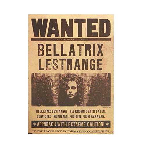 UIXIYIMG 3PCS gesucht Bellatrix Lestrange Vintage Retro Kraft Poster dekorative Gemälde 42X30cm