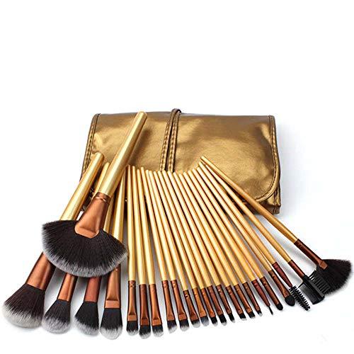 Pinceau de maquillage Ensemble De Ensemble Complet d'or De Pinceaux De Beauté Fibre Cheveux Maquillage Brosse 24 Professionnel Fard À Paupières Anti-cernes Fondation Sourcils