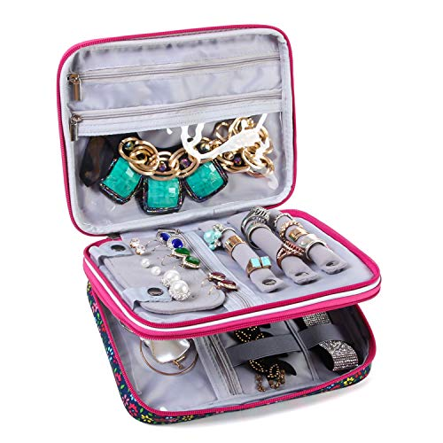 Teamoy Joyero Caja para Joyas Estuche de Joyería Bolsa de Viaje Organizador para Collares,Pulseras,Pendientes,Anillos,Cadenas,Puntos púrpuras(Sin Accesorios)