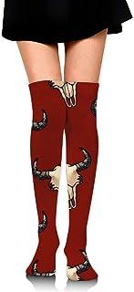 Bison Skulls Dark Red Textured Look Mujeres sobre la rodilla Calcetines de muslo Medias altas 65 Cm / 25.6In