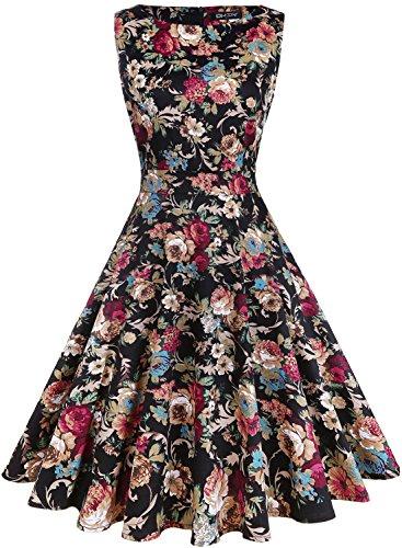 Owin Vintage-Kleider für Damen, im 1950er-Jahre-Stil, Rockabilly-Stil, Swing-Stil, mit Blumenmuster, Cocktail-Kleid für Bälle, Partys, für den Frühling, Gartenkleid Gr. S, Floral-3