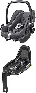 Maxi-Cosi Pebble Plus i-Size Babyschale  Maxi-Cosi FamilyFix 2 ISOFIX Basis, Gruppe 0 Autositz für Babys, nutzbar ab der Geburt bis ca. 12 Monate 0-13 kg / 45-75 cm, Sparkling Grey, grau