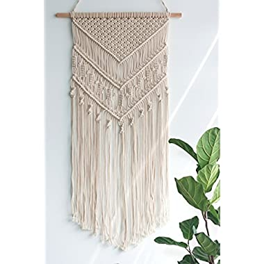 TIMEYARD Macrame Woven Wall Hanging - Boho Chic Bohemian Home Geometric Art Decor - Beautiful Apartment Dorm Room Decoration, 14  W x 33  L