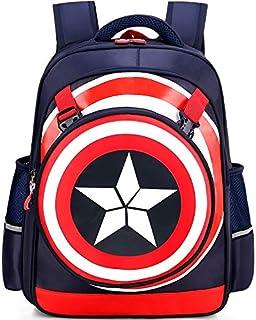 Mochila impermeable 3D Super Hero Kids Mochila, Capitán América impermeable Comic School Bag para niños (I-azul oscuro-M)