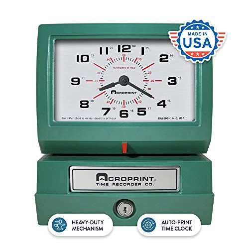 Acroprint Heavy Duty Automatic Time Recorder, Prints Month, Date, Hour (0-23) and Hundredths Time Clock