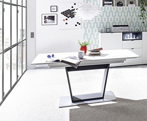 Esstisch ausziehbar 160 - 240 x 90 cm weiss matt/ anthrazit matt lackiert