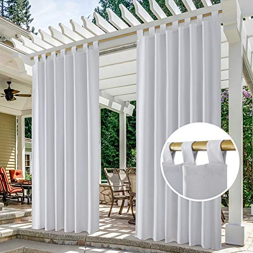 HOMEIDEAS 2 Panels Tab Top Outdoor Curtains for Patio Waterproof, Greyish White Blackout Outdoor Curtains, 52 X 96 Inch Thermal Insulated White Outdoor Patio Curtains for Porch/Pergola/Cabana/Gazebo
