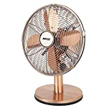 Pifco P52009 Desk Fan, 3 Speed Settings, 90 Degree Oscillation, Carry Handle and Anti Slip Feet, 10 Inch, Copper