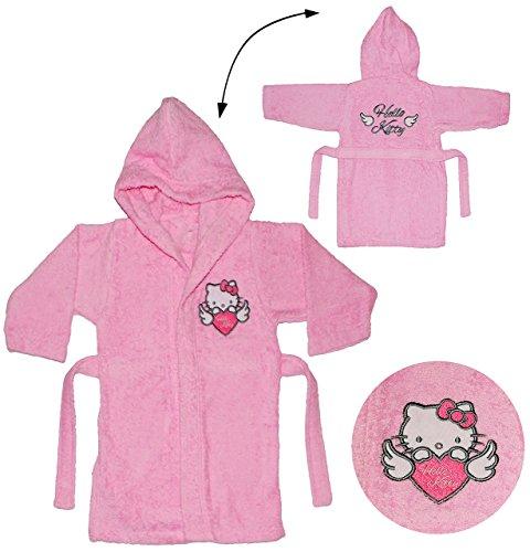 alles-meine.de GmbH Frottee Bademantel -  Hello Kitty  - 5 bis 8 Jahre / Gr. 116 - 140 - 100 % Baumwolle - mit Kapuze - für Kinder / Mädchen - Katze / Kätzchen - Hausmantel / M..