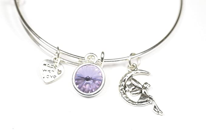 Fairy on the Moon Bangle Personalized Hand Stamped Initial Birthstone Antique Silver Fairy Charm Expandable Stainless Steel Bangle Bracelet