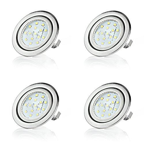 sweet-led 4 x Einbaustrahler LED, 12V, 3W, Nicht schwenkbar, Rund, Chrom gebürstet, 260 lumen, Warmweiß