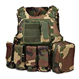 xbn Tactical Vest Outdoors Training Protection Vest Costume-Adjustable with Removeable Pouche (Forest Green)