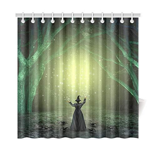 LIANGWE Wohnkultur Bad Vorhang Magische Hexe Casting Zauber Scary Polyester Stoff Wasserdicht Duschvorhang Für Badezimmer, 72X72 Zoll Duschvorhänge Haken Enthalten
