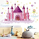 Niña Hada Castillo Adhesivos,Colorido Vinilos Decorativos,Adhesivos de pared DIY,Vinilos Decorativos Infantiles,perfectas para decoración de Niña habitación