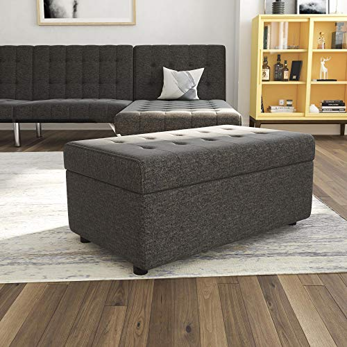 DHP Emily Rectangular Storage Ottoman, Modern Look with Tufted Design, Lightweight, Grey Linen