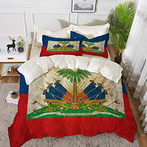 Derun Bettwäsche 3 Teilig Bettgarnitur,Grunge Haiti Flagge, Gemütlich Mikrofaser 1 Bettbezug Set 220 x 240 cm + 2 Kissenbezug 50x80 cm