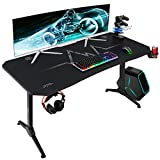 Furmax 55 Inch Gaming Desk Y-Shaped PC Computer Table with Carbon Fibre Surface Free Mouse Pad Home Office Desk Gamer Table Pro with Game Handle Rack Headphone Hook and Cup Holder (Black)