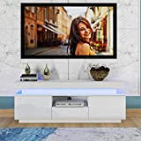 HADST Glossy LED TV Stand, White Entertainment Center, Wood Media Storage Console for 65 Inch TV, Flat Screen TV Cabinet, Gaming Consoles, for Lounge Room, Living Room and Bedroom Decor