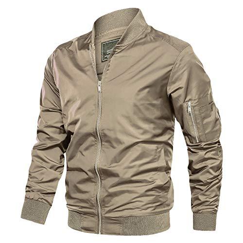 TACVASEN Flight Jackets Mens Classic Bomber Jacket Casual Sportwear Jackets Men Baseball Jacket Slim Fit Military Jackets Coats, Khaki, XL