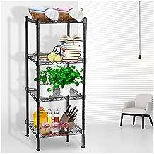 Wire Shelving, 4 Tier Storage Shelves, Adjustable Height Metal Shelve, with Leveling Feet, Chrome Kitchen Shelves Unit, for Kitchen, Living Room, Bathroom Garage Storage, 16.5