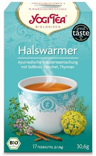Yogi Tee, Halswärmer Tee Ayurvedische Teemischung, Biotee, liebliche süße Mischung, 17 Teebeutel, 30,6g
