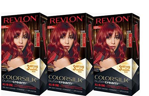 Revlon Colorsilk Buttercream Hair Dye, Vivid Intense Red, Pack of 3
