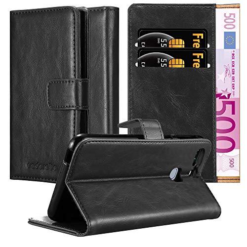 Cadorabo Hülle für Huawei P9 Plus in Graphit SCHWARZ – Handyhülle mit Magnetverschluss, Standfunktion & Kartenfach – Hülle Cover Schutzhülle Etui Tasche Book Klapp Style