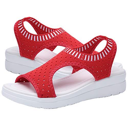 Sandalias De Mujer, Sandalias De Plataforma De Malla De Boca De Pescado con Punta Abierta De Verano para Mujer Zapatos Deportivos Rojo 39