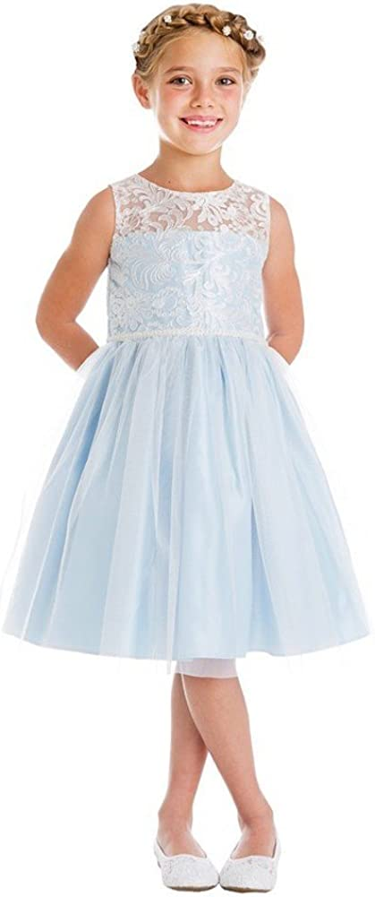 Sweet Kids Big Girls Blue Embroidered Mesh Pearl Trim Party Easter Dress 7-16