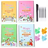 4 Pack MagicPractice Copybookfor Kid, Handwriting workbook Reusable Writing Practice Book Calligraphy Set for Kid preschoolers Children Age 3 and up (4pcs Books with a Pen and 4pcs Pencil Grips)