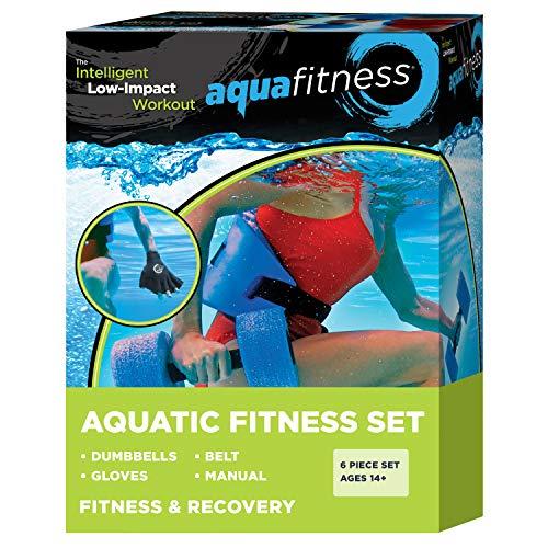 New & Improved AQUA 6 Piece Fitness Set for Water Aerobics, Pool Exercise Equipment, Aquatic Swim Belt, Resistance Gloves, Barbells, Model:AF4730