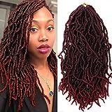 7 Packs Nu Locs Crochet Hair 18 Inch Long Bohemian Crochet Braid Synthetic Premium Fiber Crochet Braids Burgundy Soft goddess Faux locs 22 Stands 80g/pack Kanekalon Hair Extension (NU LOCK, T-BURG)
