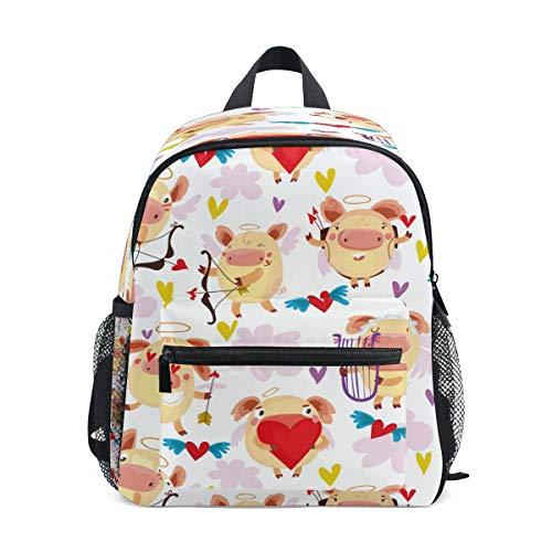 Love Pig Heart Toddler Preschool Backpack Bookbag Mini Shoulder Bag Rucksack Schoolbag for Pre-K 1-6 Years Travel Boys Girls