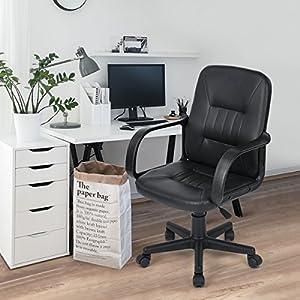 N.B.F. – Silla giratoria de oficina para el escritorio, 5 ruedas giratorias, cómoda, ajustable, piel sintética, piel…