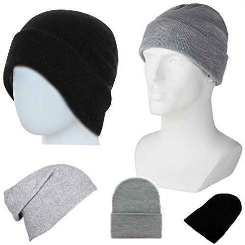 Plain Beanie Hoed Heren Dames Wollige hoed Zwart of Grijs Hip-Hop Blank Kleur Winter Wollige Slouch Ski Gebreide Unisex Hoed Turn Up