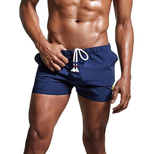 KPILP Herren Breathable Badehose Hosen Bademode Shorts Schlank Sportswear Bikini Badeanzug Boxer Boxershorts (Marine,L)