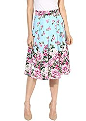 BESIVA Womens Blue Base Floral Printed Pleated Skater Skirt_X-Small