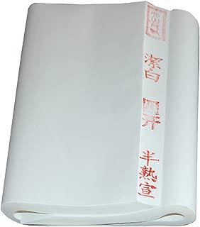 BCQLI Chinese Xuan Paper/ Half Ripe Rice Paper,Brush Calligraphy Dedicated,100 SHEETS,13.38X27.16 Inches