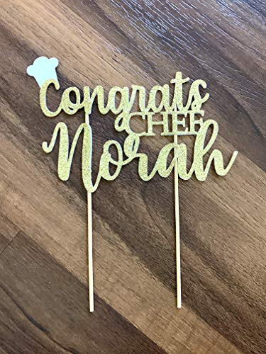 1 pc Congrats Chef custom personalise ANY name gold black pink fuchsia glitter sous pastry chef hat cake topper graduate party