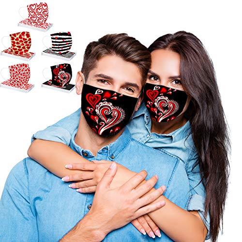 50 Stück Einweg_Mundschutz mit Motiv Herz, Happy Valentine's Day, Erwachsene 3-lagig Staubdicht Einweghülle Atmungsaktive Mund und Nasenschutz Bandana Multifunktional Halstuch