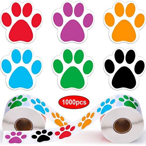 Tingz 2 Rollo de 1000 Piezas Etiquetas engomadas coloridas de la impresión de la pata Perro Gato Oso Mascota Huella Etiquetas de la pata Pegatinas(Mixto 6 colores)