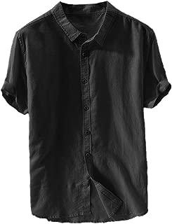 Mens Linen Button Up Shirts Banded Collar Casual Short Sleeve Summer Comfort T-Shirts