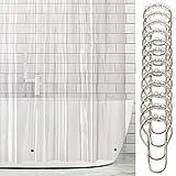 mDesign Vinyl Badewannenvorhang – wasserdichter Duschvorhang inkl. 12 Ringe – langer Vorhang für Dusche & Badewanne – 100prozent Vinyl – transparent