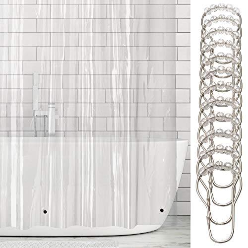 mDesign Vinyl Badewannenvorhang – wasserdichter Duschvorhang inkl. 12 Ringe – extra langer Vorhang für Dusche und Badewanne – 100% Vinyl – 182,9 cm x 243,8 cm – transparent