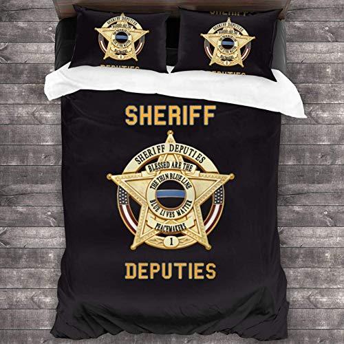 Yuanmeiju Juego de Cama Sheriff Comforter Set, 3 Piece Bedding Set, 86X70 Set with 1 Quilt Set and 2 Pillowcase Soft and Comfortable