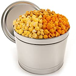 1 gallon popcorn tin is a delicious 10th anniversary traditional tin gift for your husband